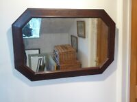 Antique Edwardian Oak Framed Mirror 99cm x 66cm