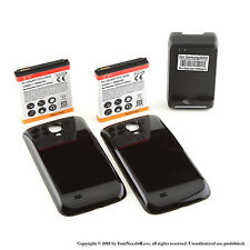 2 x 5600mAh Extended Battery for Galaxy S 4 IV i9500 Black Cover Charger