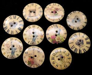 10 Large Clock, London, Paris New York Pattern 30mm Buttons, Sewing BU1283
