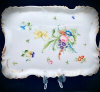 "Haviland Limoges Vanity Tray - 10"" by 8"" - Dated 1876 to 1889 - Hand Painted"