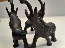 "Elephants in a circle cast iron Figurine Made In India 3 1/2"" tall 3 1/2"" round"