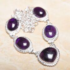 hecho a Mano Elegante Amatista violeta plata de ley 925 Collar 50.8cm n01244