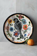 New Anthropologie Nathalie Lete BLACK BIRD COUCOU Dinner Plate Francophile