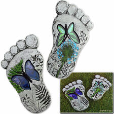 Set of 2 Deco Feet Foot Garden Stepping Stone Paving Decking Ornament Plaque