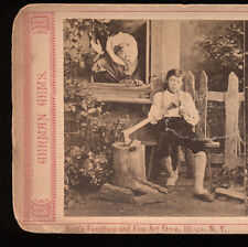 1880s Stereoview German Gems, Genre View Boy Smoking Pipe, Bool's of Ithaca, NY