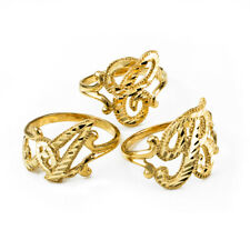 10K Yellow Gold Sparkle-Cut Letter Initial Script Ring