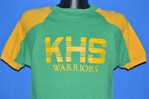 vintage 70s KHS WARRIORS GREEN YELLOW BLUE BAR CHAMPION JERSEY t-shirt MEDIUM M