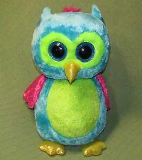 "18"" Ty OPAL Beanie Boos OWL Aqua Blue Sparkly Chest Green Pink Wings RARE Plush"