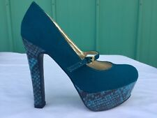 Guess Suede Snake Skin Green Heels Toe Platform Shoes Women's Size 6.5 M
