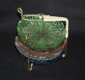 vintage retro harlequin glass coaster set with metal stand depression glass type