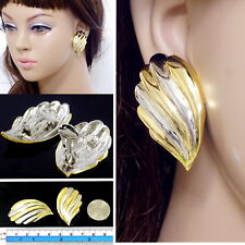 "#E122B Women High Quality 1.6"" CLIP ON EARRINGS Wing Feather Gold Plated Polish"