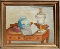 Vintage Original Oil Painting on Canvas panel Still Life, Framed, Signed