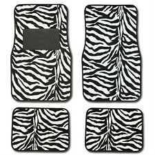 4PC SET BLACK ZEBRA SAFARI CAR TRUCK FLOOR MATS CARPET