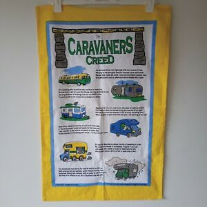 Vintage Linen Tea Towel Caravanners Creed Kitchen All gifts Australia as new con