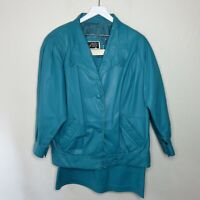 Vintage Teal Genuine Leather Jacket and Skirt - Women's M/L