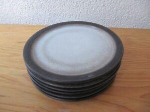 6 Ceramano Tique Frühstücksteller Kuchen Teller grau Keramik 19 cm 60er 70er
