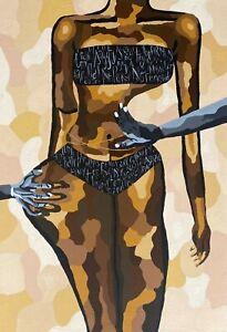 "Eseroghenerukevwe Ovbagbedia - ""Shades of Brown"" Original Acrylic on Canvas"