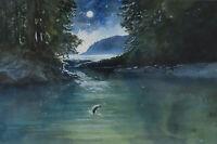 Lissa Calvert Original Painting Salmon Jumping by Moonlight Canadian Listed