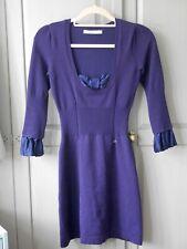Karen Miller Blue Knit Silk Bow Stretch Ribbed Casual Dress RARE Size 1