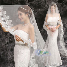 1T White Ivory 3M Lace Flower Edge Wedding Cathedral Length Bridal Veil Tulle