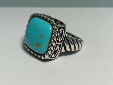 🌸 925 Sterling Silver Square  Turquoise Ring Size 6 (R43) 🌸