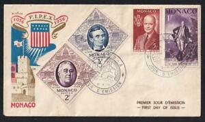 Monaco FDC 1956 FIPEX NYC-Washington, Lincoln, Roosevelt, Eisenhower