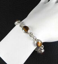 """Vintage Solid 925 Sterling Silver Mexico Stone Link Bracelet Womens Jewelry 7.5"""""""