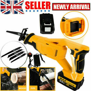4 Blades Cordless Electric Reciprocating Saw Wood Metal Cutting Recip + Battery