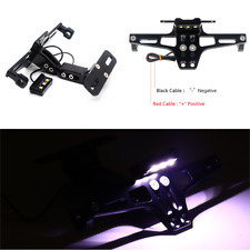 1pc Adjustable Motorcycle License Plate Holder Bracket Frame Holder W/ LED Light