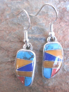 Stone Inlay Earrings Made by Artesanas Campesinas in Mexico Fair Trade NEW e3001