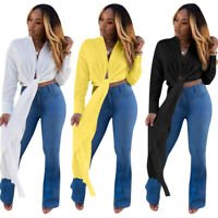 Hot Sale Stylish Women's Solid Color Long Sleeves V Neck Bandage Club Party Top