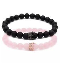UEUC Distance Couple Bracelets with CZ Crown King&Queen His Hers Black Matte...