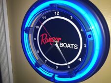 Ranger Fishing Boat Garage Advertising Man Cave Blue Neon Clock Sign