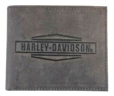 Harley-Davidson Mens Crazy Horse Leather Billfold Wallet MCH8450-BRNBLK