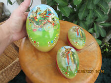 3 Vintage German Paper Mache Easter Egg Candy Containers Rabbit Couple & Carriag