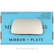 Left Passenger side Flat Wing mirror glass for Volvo 440 460 480 1991-97 +plate