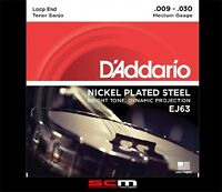 Daddario EJ63 Tenor Banjo String Set Nickle Plated Steel 9-30 Strings
