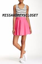 NEW Necessary Objects Inverted Pleat Full High Waisted Skirt HOT PINK MSRP $98