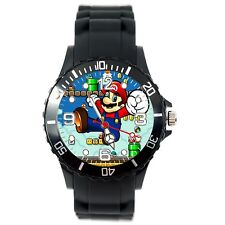 SUPER MARIO BROS VIDEO GAME PLUMBER HERO BLACK SILICONE VIDEO GAME STEEL WATCH