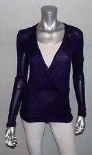 THE LIMITED NEW Dark Blue Merino Wool Blend Surplice Banded Hem Sweater sz XS