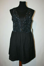 NWT Forever 21 Special Collection Sz M Black Sequins Lace Sleeveless Mini Dress