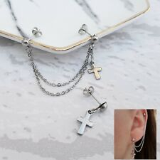 Helix Cartilage to Lobe Cross Chain Earring Stainless Steel Double Piercing