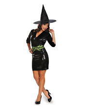 Women's Plus Size Glam Black Witch Costume Dress with Hat & Belt XL 18-20