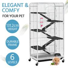 6 Level Kitten Hutch Cat Ferret Cage Small Animals House w/ Feeder&Wheels