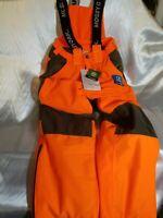YOUTH Medium Mossy Oak Blaze Orange Waterproof, Breathable & Windproof Bibs NWT