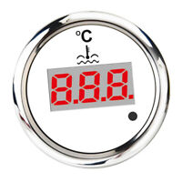 Boat Marine Digital Water Temp Gauge 9-32v 40-120℃ 52mm/2inch White
