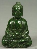 CHINESE OLD JADE HANDWORK CARVED BUDDHA STATUE (FREE SHIPPING)