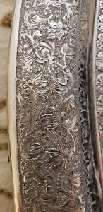 Persian Solid Silver Elaborate Birds Vines Flowers Frame Mirror signed.