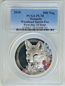 2018 Mongolia 1 oz Silver Woodland Spirits Fox PL-70 PCGS -First Day of Issue.