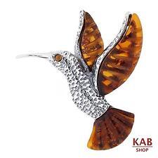 COGNAC BALTIC AMBER STERLING SILVER 925 BROOCH / PIN humming-bird. KAB-146